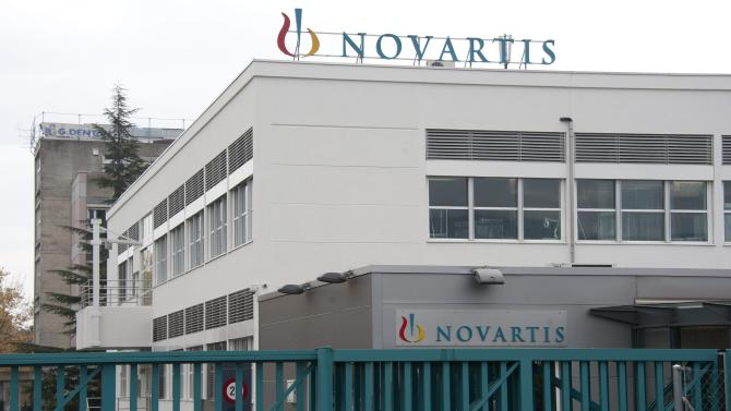 FILE - The Oct. 25, 2011 file photo shows the entrance of a Novartis production site in Nyon, Switzerland. Swiss pharmaceutical company Novartis AG has reported a 6.7 percent increase in profit for the first quarter, boosted by new products and emerging markets. Novartis says Wednesday, April 24, 2013, its net profit rose to US dollar 2.42 billion from US dollar 2.27 billion in the same period last year. (AP Photo/Keystone, Dominic Favre, File)