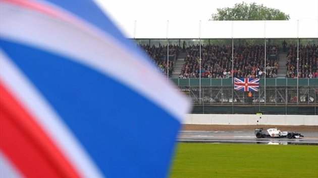 Rain falls at Silverstone during the first free practice session for the British Grand Prix, July 2012