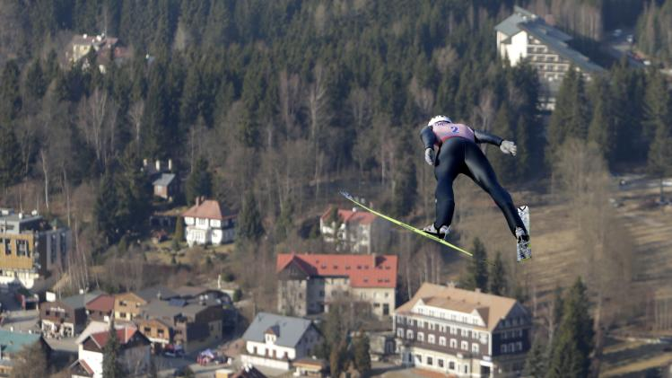 Bardal of Norway soars through the air during the trial round of the Ski Flying World Championship in Harrachov