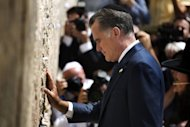 US Republican presidential candidate Mitt Romney visits the Western Wall in Jerusalem's Old City. Romney held top-level talks in Israel over Iran's nuclear ambitions but quickly drew fire from the Palestinians for endorsing Jerusalem as the capital of the Jewish state