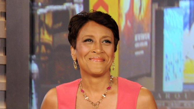 """FILE - This Aug. 20, 2012 file photo released by ABC shows co-host Robin Roberts during a broadcast of """"Good Morning America,"""" in New York. Roberts underwent a bone marrow transplant earlier this month and recorded a message to fans from a hospital bed that she could """"feel the love."""" ABC News' website encourages people to """"follow Robin's journey."""" (AP Photo/ABC, Donna Svennevik, file)"""