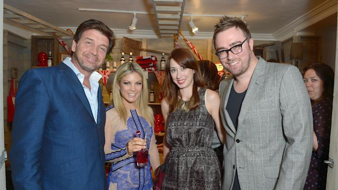 IMAGE DISTRIBUTED FOR PIMM'S - IMAGE DISTRIBUTED FOR DIAGEO - Nick Knowles, left, and Danny Wallace, right, seen with guests at the Pimm's Summer Garden in London on Tuesday, June 18, 2013. (Photo by Jon Furniss/Invision for Pimm's/AP Images)