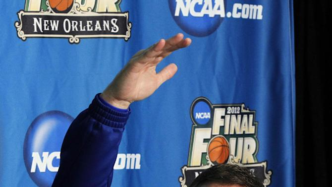 Kansas head coach Bill Self talks to reporters during a news conference in New Orleans, Thursday, March 29, 2012. Kansas will play Ohio State in an NCAA tournament Final Four semifinal college basketball game on Saturday. (AP Photo/Gerald Herbert)