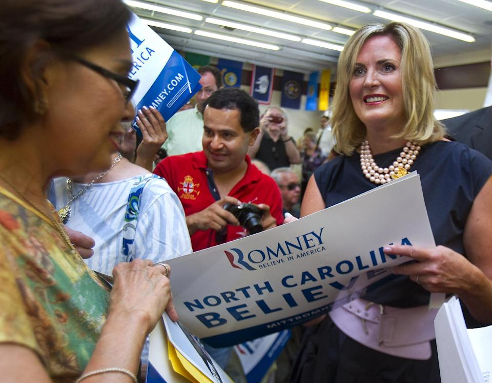 Ann Romney, wife of Republican candidate Mitt Romney, speaks to local Republican party members gathered at Guilford County GOP headquarters office in in Greensboro, N.C. on Thursday, July 19, 2012.  (AP Photo/News & Record, H. Scott Hoffmann)