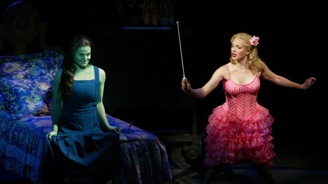 """FILE - In this undated photo released by the producers of """"Wicked,"""" Idina Menzel, left, is joined by Jennifer Laura Thompson, right, in the $14 million """"Wizard of Oz"""" prequel. The Broadway League reported Wednesday, Jan. 2, 2013, that the 10-year-old """"Wicked"""" took in a whopping $2,947,172 over nine performances last week, which is the highest single-week gross of any show in Broadway history.  (AP Photo /Joan Marcus, File)"""