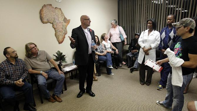 Bret Camp, AHF Regional Director, speaks at the Grand Opening of the new AHF Healthcare Center in Dallas, Tex. Monday, December 3, 2012. (Richard W. Rodriguez /AP Images for AIDS Healthcare Foundation)