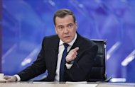&lt;p&gt;Russia&#39;s Prime Minister Dmitry Medvedev speaks during an interview with five major national television channels in Moscow on December 7. Stark divisions within Russia&#39;s elite were exposed Monday when a hot mic mishap showed Prime Minister Dmitry Medvedev slamming security forces as &quot;jerks&quot; for launching an early morning raid against a filmmaker.&lt;/p&gt;