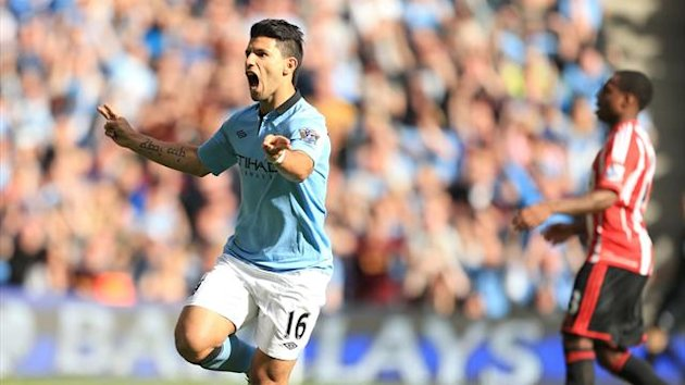 Manchester City's Sergio Aguero celebrates scoring against Sunderland, October 2012