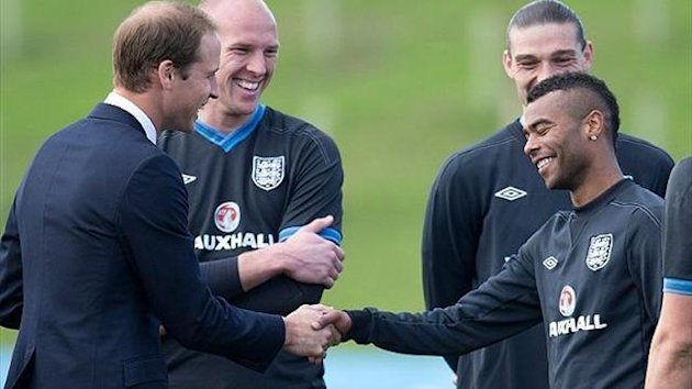 Prince William meets Ashley Cole at St George's Park (AFP)