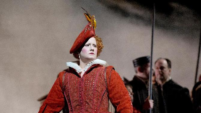 """In this Dec. 24, 2012 photo provided by the Metropolitan Opera, Elza van den Heever is Elisabetta in Donizetti's """"Maria Stuarda,"""" during a dress rehearsal of Donizetti's """"Maria Stuarda,"""" at the Metropolitan Opera in New York. (AP Photo/Metropolitan Opera, Ken Howard)"""