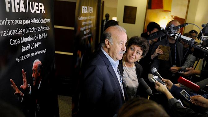 Vicente Del Bosque, head Coach of Spanish national football team, speaks with media at the post-2014 FIFA World Cup Brazil Technical Conference in St. Petersburg on September 17, 2014