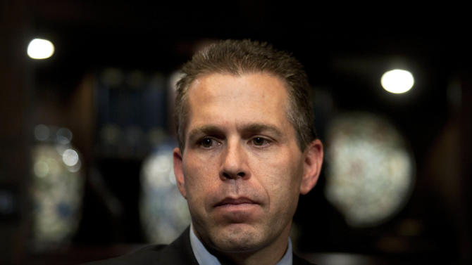 """Israeli Cabinet minister Gilad Erdan is seen during an interview with The Associated Press in Jerusalem, Monday, Sept. 12, 2011. Erdan said Monday his government is making """"every effort"""" to prevent the U.N. from voting in favor of Palestinian statehood. (AP Photo/Sebastian Scheiner)"""