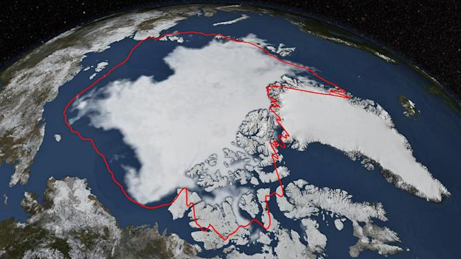 Satellite picture shows Arctic sea ice at its annual minimum in 2014