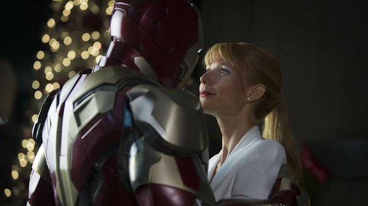 "This undated publicity photo released by Marvel shows Robert Downey Jr., left, as Tony Stark/Iron Man and Gwyneth Paltrow, as Pepper Potts, in a scene from Marvel's ""Iron Man 3."" (AP Photo/Marvel, Zade Rosenthal)"
