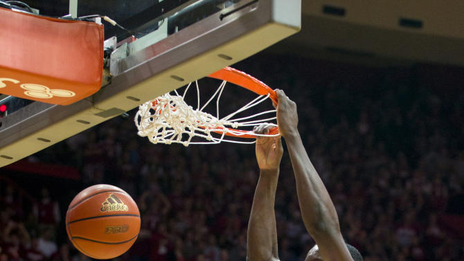 Indiana's Victor Oladipo (4) dunks during the second half of an NCAA college basketball game against Nebraska, Wednesday, Feb. 13, 2013, in Bloomington, Ind. Indiana won 76-47. (AP Photo/Doug McSchooler)
