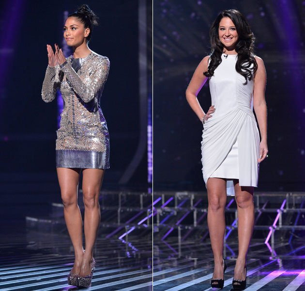X Factor week 2 part 1. The girls went for cold silver and grey tones, but rocked very different looks. Nicole went for a metallic mini dress teamed with gigantic platform stilettos. Tulisa, however,