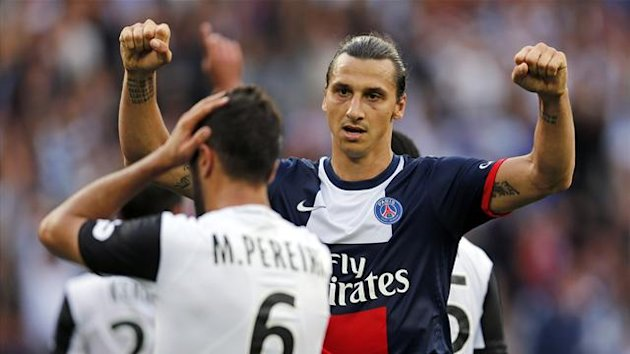 Paris Saint-Germain's Zlatan Ibrahimovic celebrates after scoring a goal against Guingamp during their French Ligue 1 match at Parc des Princes stadium in Paris August 31, 2013 (Reuters)