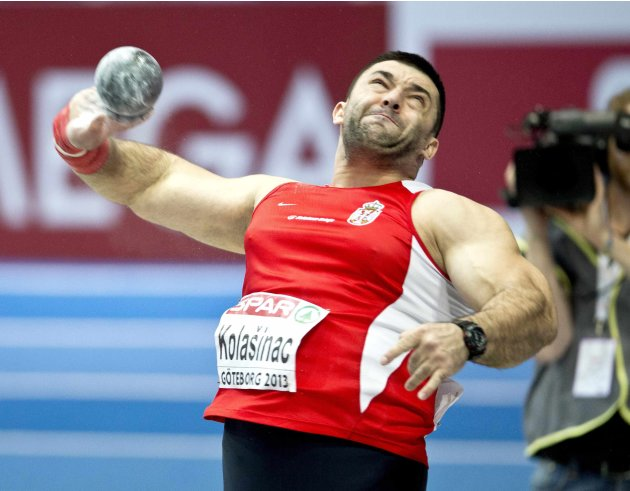 Serbia's Asmir Kolasinac competes to win the final of the men's Shot Put event at the European Indoor Championships in Gothenburg