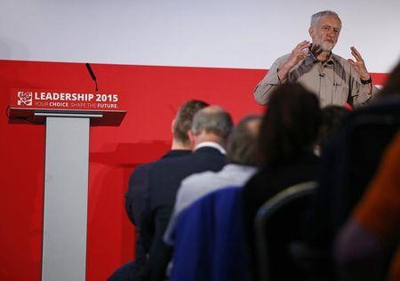 Candidate Jeremy Corbyn speaks during a Labour Party leadership hustings event in Stevenage