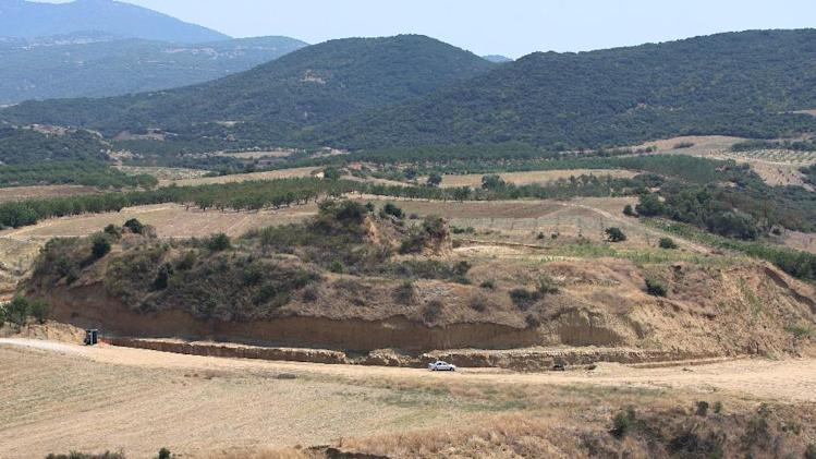 A view of a large burial monument dating back to the 4th century BC, in Kasta, near Amphipolis, Greece on August 24, 2013