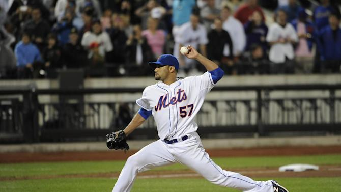 New York Mets starting pitcher Johan Santana (57) throws against the St. Louis Cardinals in the ninth inning of a baseball game on Friday, June 1, 2012, at Citi Field in New York. Santana threw a no-hitter and the Mets won 8-0. (AP Photo/Kathy Kmonicek)