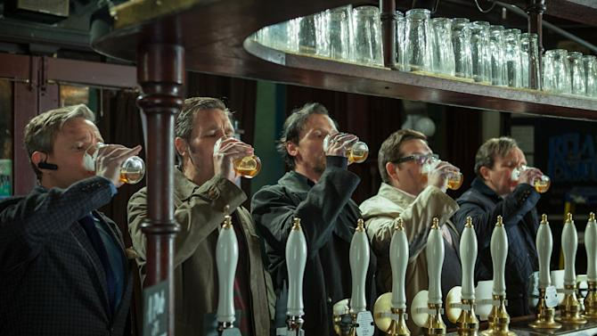 """This film publicity image released by Focus Features shows, from left, Martin Freeman, Paddy Considine, Simon Pegg, Nick Frost, and Eddie Marsan in a scene from """"The World's End."""" (AP Photo/Focus Features, Laurie Sparham)"""