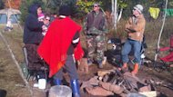 Mi'kmaq warriors from Cape Breton joined the protest camp at the Trans-Canada Highway project in New Haven Wednesday.