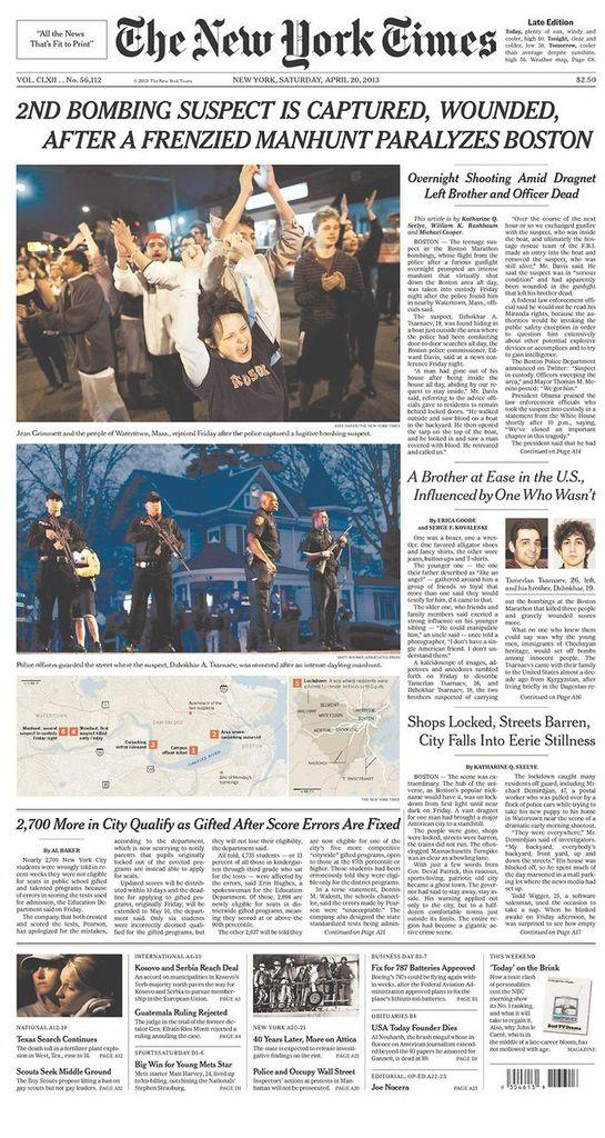 Newspaper covers of Boston bombing suspect's arrest