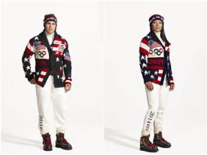 Zach Parise and Julie Chu wearing the Official Opening Ceremony Parade Uniforms for the 2014 Winter Olympic Games
