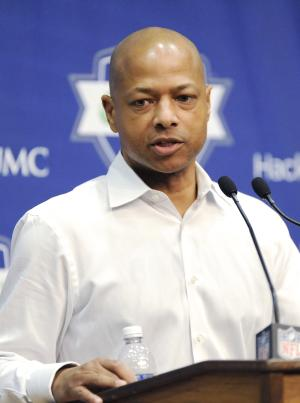 New York Giants general manager Jerry Reese speaks to the media Monday, Dec. 30, 2013, in East Rutherford, N.J. after the Giants season ended with a 7-9 record. (AP Photo/Bill Kostroun)
