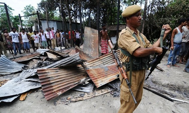 A house burnt by rioters in Kharabari Charak Math village in Assam's Barpeta district in August. Tea plantation workers torched the home of their boss, killing both him and his wife, following a labour dispute in the northeastern Indian state of Assam, officials said on Thursday