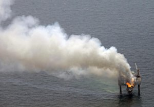 A fire is seen on the Hercules 265 drilling rig in…