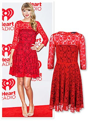 Lace Dress on Found It  Taylor Swift   S Red Lace Dress   Fashion   Yahoo  Shine