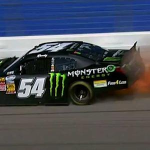 Kyle Busch catches fire after cutting a tire