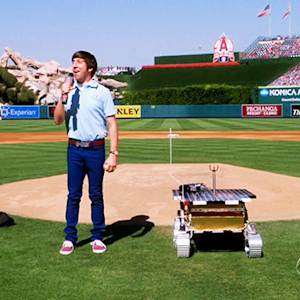 Wolowitz Delivers Unusual First Pitch at Angel Stadium