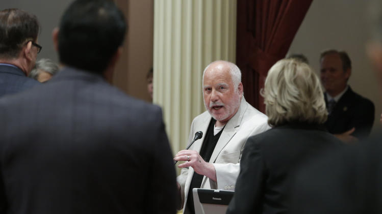 Actor Richard Dreyfuss addresses lawmakers during his visit to the state Senate at the Capitol, Thursday, Aug. 21, 2014, in Sacramento, Calif. Dreyfuss was presented a Senate Resolution for his work promoting civics education in public schools through the Dreyfuss Initiative. (AP Photo/Rich Pedroncelli)
