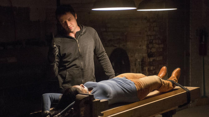 "This TV publicity image released by Fox shows James Purefoy as serieal killer Joe Carroll confronting his next victim in the ""Welcome Home"" episode of ""The Following."" A study of 392 prime-time scripted programs on broadcast networks shown in the month following Vice President Joe Biden's January meeting with entertainment industry executives revealed that 193 had some incident of violence, according to the Parents Television Council. (AP Photo/Fox, David Giesbrecht)"