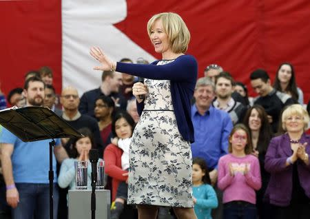 File photo of Laureen Harper, wife of Canada's PM Harper introducing her husband to supporters in Ottawa