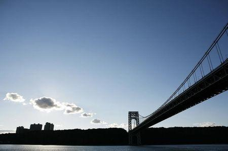 The George Washington Bridge is seen as it crosses into New Jersey in New York