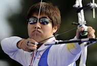 South Korean archer Im Dong-Hyun, pictured in 2008, lines up at Lord's on Friday as one of the favourites to hit the target and win Olympic gold. Not bad for an athlete who is legally blind