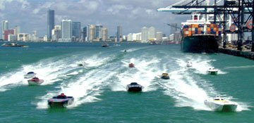 Speedboats racing in Universal Pictures' Miami Vice