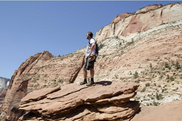 Hemophilia patient Roop is shown during his 2012 visit to Zion National Park in Utah