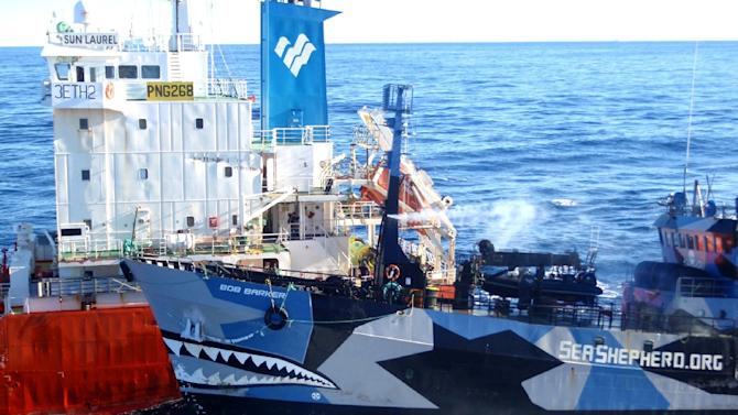 Sea Shepherd ship Bob Barker (R) collides with a Japanese whaling fleet fuel tanker as Japanese whalers and militant conservationists clash in waters off Antarctica in 2013, with both sides accusing the other of ramming their vessels