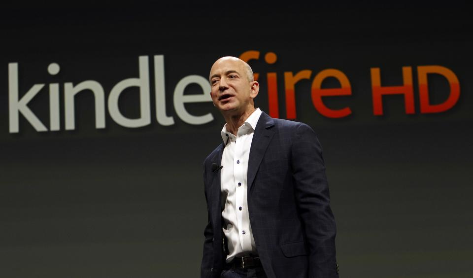 Jeff Bezos, CEO and founder of Amazon, speaks at the introduction of the new Amazon Kindle Fire HD and Kindle Paperwhite in Santa Monica, Calif., Thursday, Sept. 6, 2012. (AP Photo/Reed Saxon)