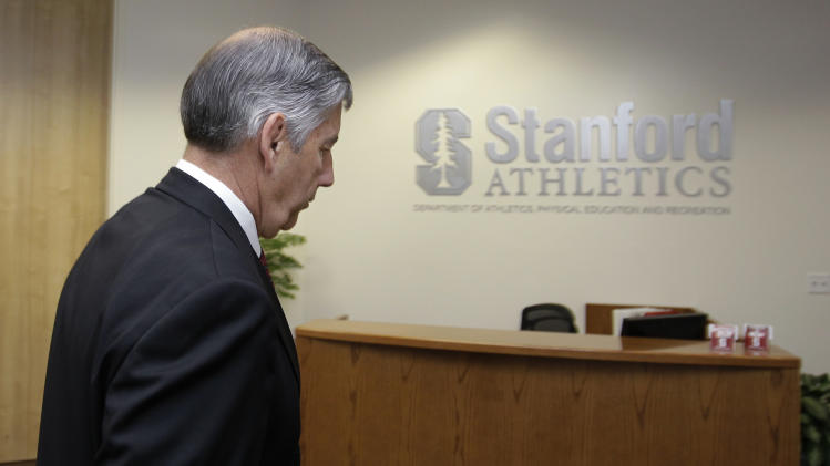 Stanford athletic director Bob Bowlsby leavea a meeting with his staff on the Stanford University campus in Stanford, Calif., Thursday, May 3, 2012. Bowlsby has told his staff that he is leaving to become the Big 12 Conference commissioner, according to a person with knowledge of the discussion.  (AP Photo/Paul Sakuma)