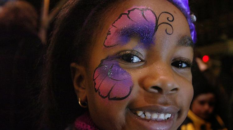 Ja'nya Maple, 6,  attends the 14th Annual 2013 First Night Scranton New Year's Eve festivities on Monday, Dec. 31, 2012 in downtown Scranton, Pa. (AP Photo/The Scranton Times-Tribune, Butch Comegys) WILKES BARRE TIMES-LEADER OUT; MANDATORY CREDIT