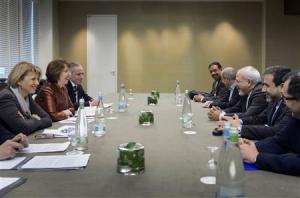 EU foreign policy chief Ashton and Iranian Foreign Minister Zarif participate in talks over Iran's nuclear programme in Geneva