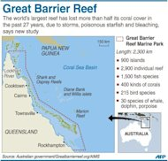 Graphic fact file on the Australia's Great Barrier Reef, which has lost more than half its coral cover in the past 27 years, according to a new study shows