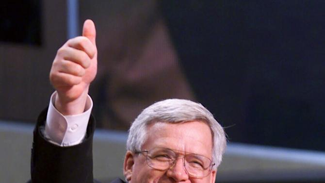 """FILE - In this July 31, 2000 file photo, House Speaker Dennis Hastert of Ill. gives a thumbs up after taking over as chairman of the Republican National Convention in Philadelphia. Hastert's career as House speaker both arose and ended amid the sex-related scandals of others. Now, eight years after leaving Congress, Hastert's own legacy is threatened by an indictment charging financial misdeeds _ and cryptically referring to """"misconduct"""" against an unnamed person.  (AP Photo/Amy Sancetta, File)"""