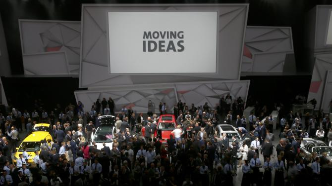 Media and guests gather after the Volkswagen group night at the Frankfurt motor show